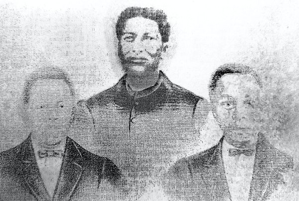 Myron Medcalf's great-great-great-grandmother, Mary Ann Key, is shown with Medcalf's great-grandfather, Jolly Key, right, and his great-uncle, Wil