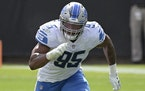 FILE - Detroit Lions defensive end Romeo Okwara (95) follows a play during the first half of an NFL football game against the Jacksonville Jaguars in