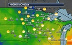 Partly sunny and not as windy Monday - Heavier rain expected Monday Night into Wednesday
