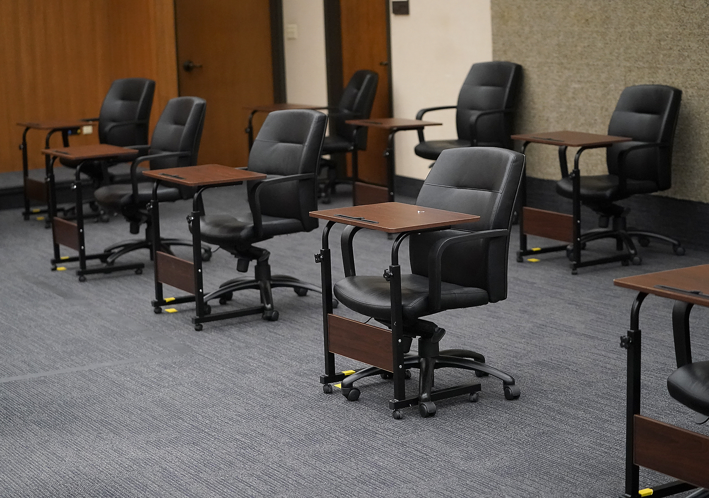The courtroom, including these juror seats, where the Derek Chauvin trial will take place at the Hennepin County Government Center in Minneapolis.