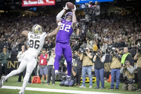Minnesota Vikings tight end Kyle Rudolph caught the winning touchdown over New Orleans Saints cornerback P.J. Williams in overtime of the 2019 playoff