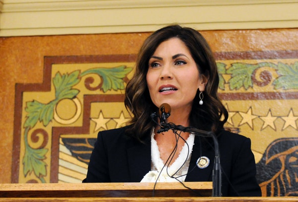 In this Jan. 8, 2019, photo, South Dakota Gov. Kristi Noem gives her first State of the State address in Pierre, S.D.