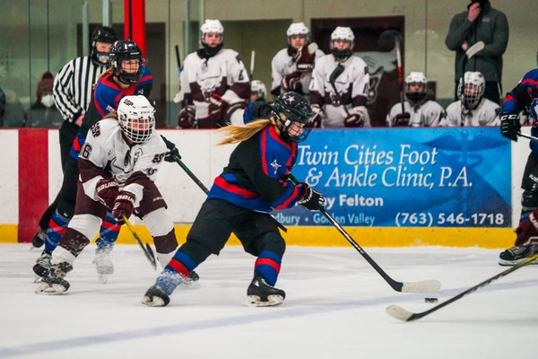 Gentry Academy's Cara Sajevic carried the puck into the South St. Paul zone in the third period of the Class 1A, Section 4 final last week.