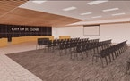 A rendering shows the new council chambers inside a renovated Technical High School.