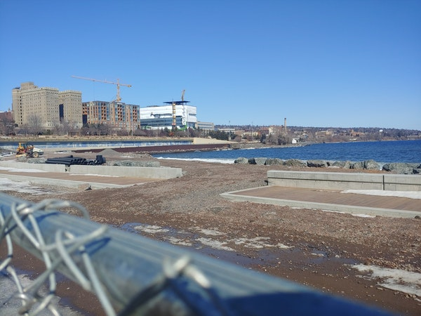 Work continued on the Canal Park section of Duluth's Lakewalk in early March. The rebuilt trail is scheduled to reopen by mid-June.
