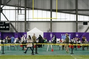 People arrived to be vaccinated at the Vikings Training Center, which was administering the newly available, single dose Johnson & Johnson COVID-19 va