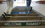 In 2015, Ramsey Middle School students made their way up a flight of stairs at the school in St. Paul.