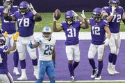 Vikings running back Ameer Abdullah (31) celebrated with teammates after scoring on a touchdown against the Lions in November.