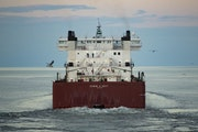 FILE-The Edwin H Gott passed under the Aerial Lift Bridge in Duluth in August. A rebound in the steel industry bodes well for the Port of Duluth-Super