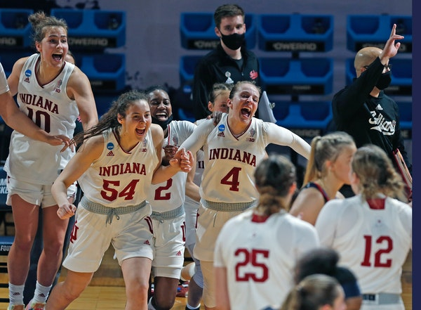 Indiana celebrated its 70-48 victory over Belmont in the second round of the NCAA women's basketball tournament in San Antonio on Wednesday.
