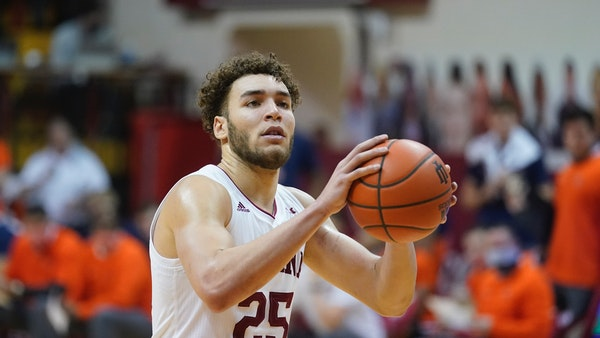 Indiana's Race Thompson (25) is one of several players with Minnesota ties in the transfer portal.