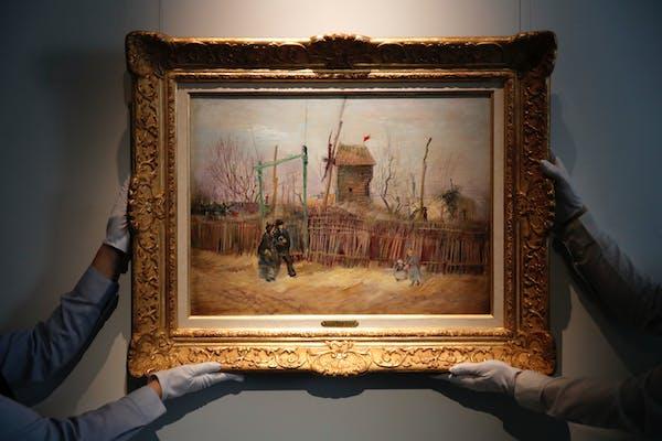 """Scene de rue à Montmartre"" (Street scene in Montmartre), a painting by Dutch master Vincent van Gogh, at Sotheby's auction house in Paris."