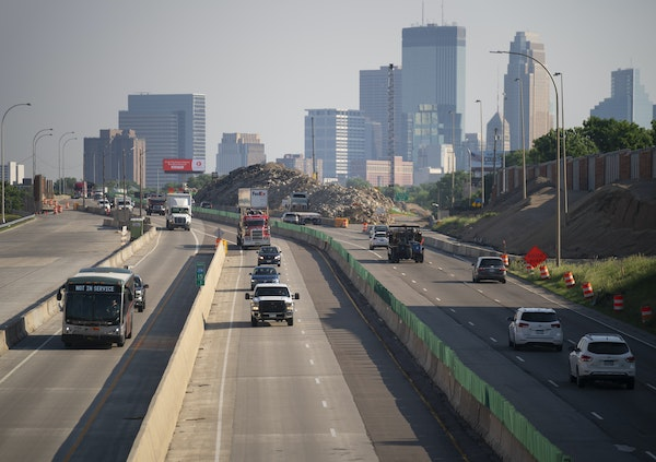 The view looking north towards downtown Minneapolis from the 35th St. bridge in June 2020. JEFF WHEELER • jeff.wheeler@startribune.com