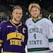 Riese, left, and Will Zmolek got together when Minnesota State Mankato played at Bemidji State earlier this season.