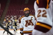 Gophers forward Sammy Walker is one of the star hockey players in the NCAA tournament from the state of Minnesota.
