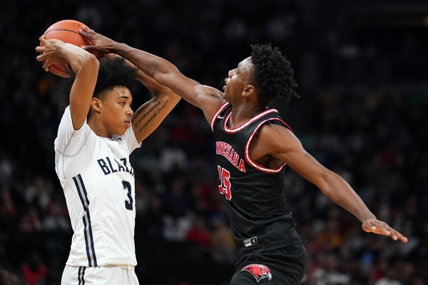 Hercy Miller of Minnehaha Academy, shown here playing defense in 2020, signed with HBCU Tennessee State on Friday, turning down several high-major off
