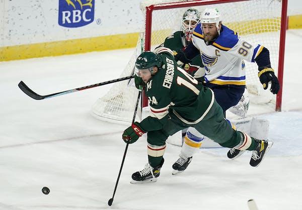 Wild center Joel Eriksson Ek skated away from Blues center Ryan O'Reilly on Thursday at Xcel Energy Center.