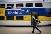 Commuters boarded the Northstar commuter train at Target Field station in Minneapolis. LEILA NAVIDI • leila.navidi@startribune.com