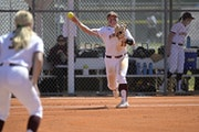 Gophers infielder Katelyn Kemmetmueller (10) threw to first base during a softball game against Rutgers on March 12 in Leesburg, Fla. Big Ten teams ar