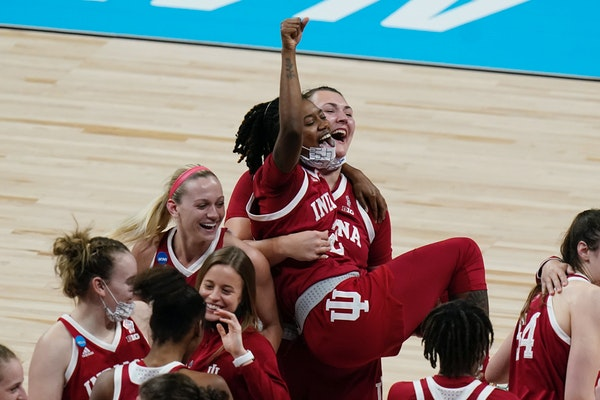 Indiana players celebrated their victory over top-seeded North Carolina State to reach the Elite Eight on Saturday.