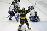 Boston Pride forward Jillian Dempsey celebrated after scoring a goal against Whitecaps goalie Amanda Leveille during the second period Saturday night.