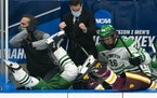 (Left) North Dakota Fighting Hawks forward Riese Gaber (17) and UMD Bulldogs defenseman Louie Roehl (6) fell over the boards and into the North Dakota