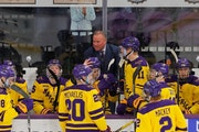 Mike Hastings and Minnesota State, shown in 2019, will try to reach their first Frozen Four when they play the Gophers in the West Regional final on S
