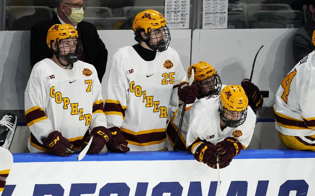 Gophers forward Brannon McManus, forward Jack Perbix and forward Scott Reedy looked on from the bench late in the third period of Minnesota State Mankato's 4-0 victory for the NCAA West Regional title Sunday.