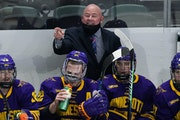 """Minnesota State Mankato hockey coach Mike Hastings: """"Finally, we get a win and find a way to win a regional and get to the Frozen Four. """"For all t"""