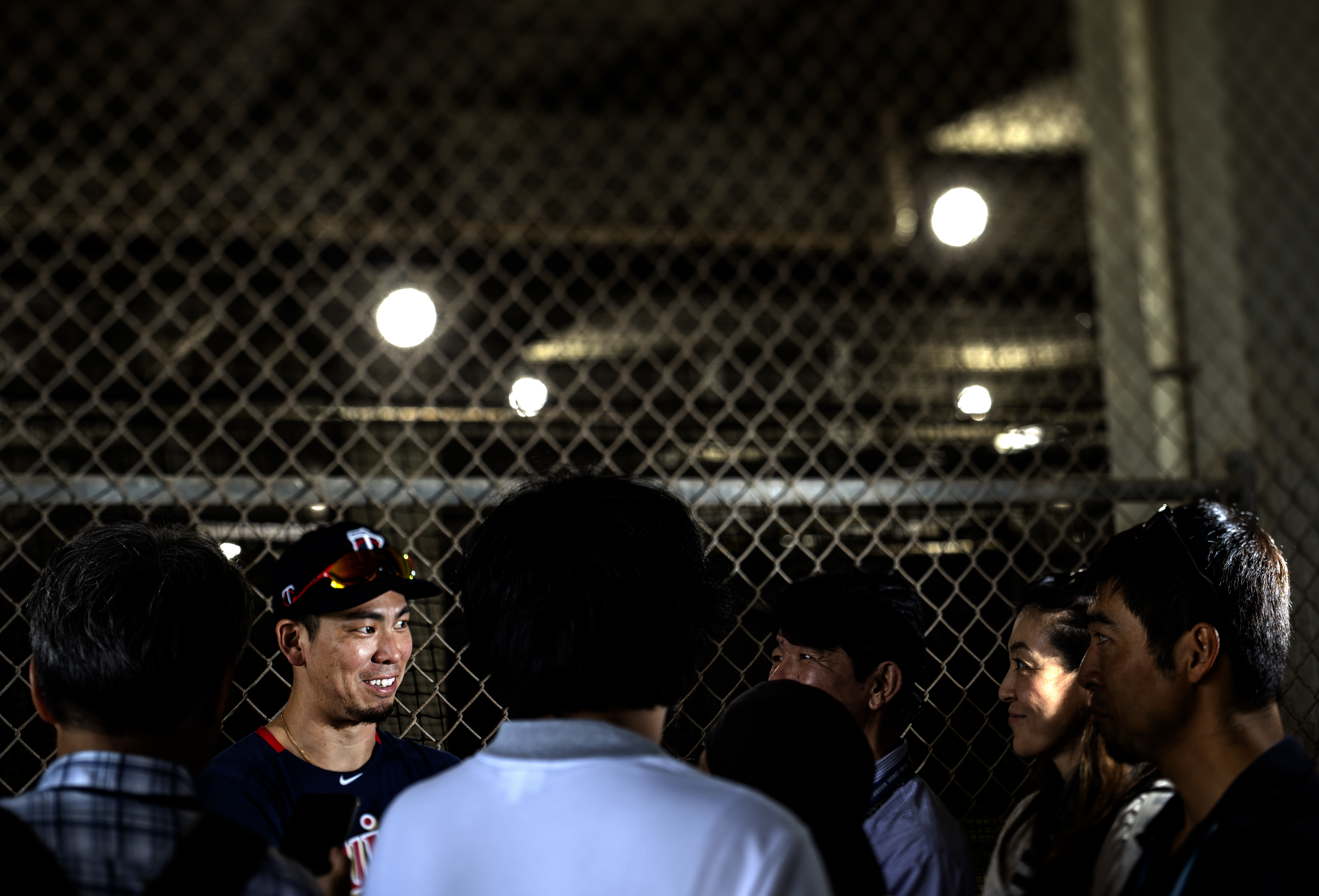 Twins pitcher Kenta Maeda spoke with the Japanese press after a February practice in Fort Myers, Fla.