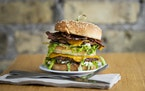 The Dirty Secret, complete with vegan bacon, is J. Selby's take on the Big Mac.