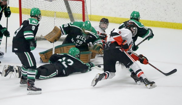 Hill-Murray, shown here in a 2018 game, is a traditional power in Minnesota high school hockey.