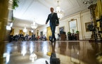 President Joe Biden departed a news conference at the White House on Thursday, March 25, 2021. Asked whether he would run for re-election in 2024, he