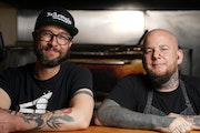 Eureka Compass Vegan Food founder Colin Anderson and chef John Stockman worked together to prepare a monthly vegan community dinner at the St. Paul ma