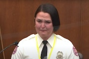 In this image from video, Minneapolis firefighter Genevieve Hansen testified Tuesday in the trial of former Minneapolis police officer Derek Chauvin,