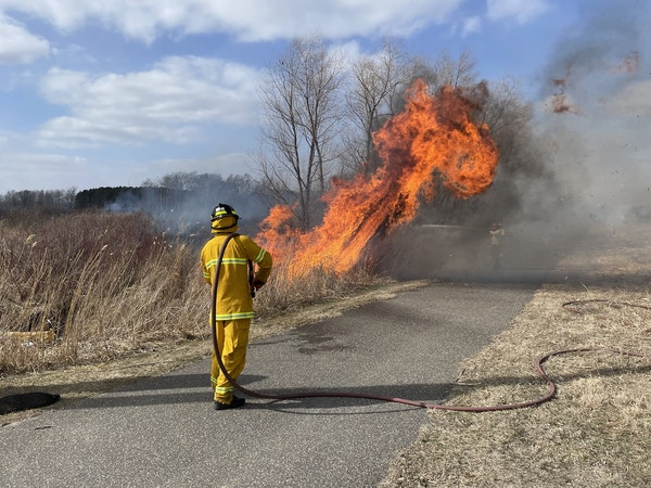 The Lino Lakes Public Safety Department believes a cigarette thrown from a car window started a fire spanning 118 acres.