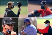 AL Central managers (clockwise from top left): Tony Larussa of the White Sox, Rocco Baldelli of the Twins, Terry Francona of Cleveland, Mike Matheny o