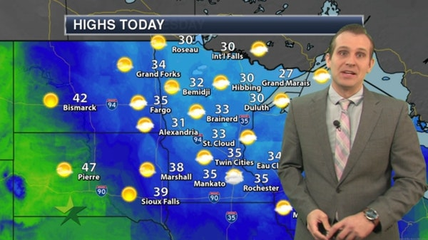 Morning forecast: Cold, windy and dry; high 35