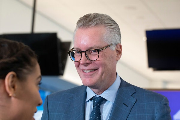 Delta Air Lines' CEO Ed Bastian attends the opening of the new $3.9 billion Terminal C at LaGuardia Airport, Tuesday, Oct. 29, 2019, in New York.