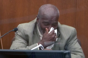 "Witness Charles McMillian struggled to regain his composure Wednesday. ""I don't have a momma either, I understand him,"" he said of George Floyd."