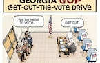 Sack cartoon: Georgia GOP get-out-the-vote drive