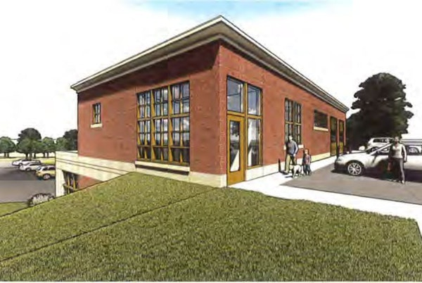 A rendering of the new building in downtown Anoka shows the planned law enforcement training center and animal containment facility.