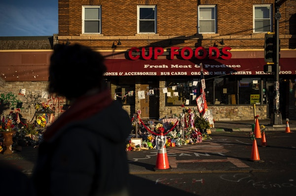 Courteney Ross visited George Floyd Square at the intersection of Chicago Avenue and East 38th Street in South Minneapolis. Monuments and tributes lin