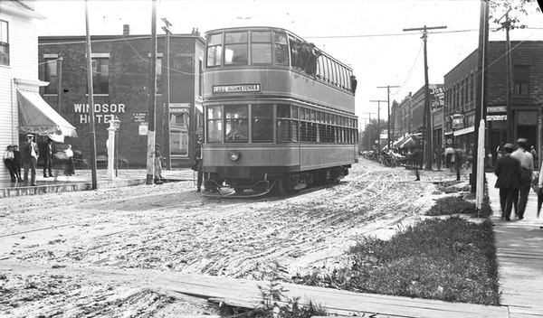 A double-decker streetcar operates in Excelsior in the early 1900s. These special cars were only run for several years.