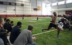 Rashod Bateman sprinted in front of NFL scouts at the Gophers pro day on Thursday at the Athletes Village.