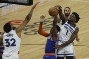 Anthony Edwards of the Wolves knocked the ball from the hands of the Knicks' R.J. Barrett on Wednesday.