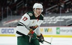 Wild left wing Marcus Foligno hasn't played since March 12 but is is still finding a way to be involved