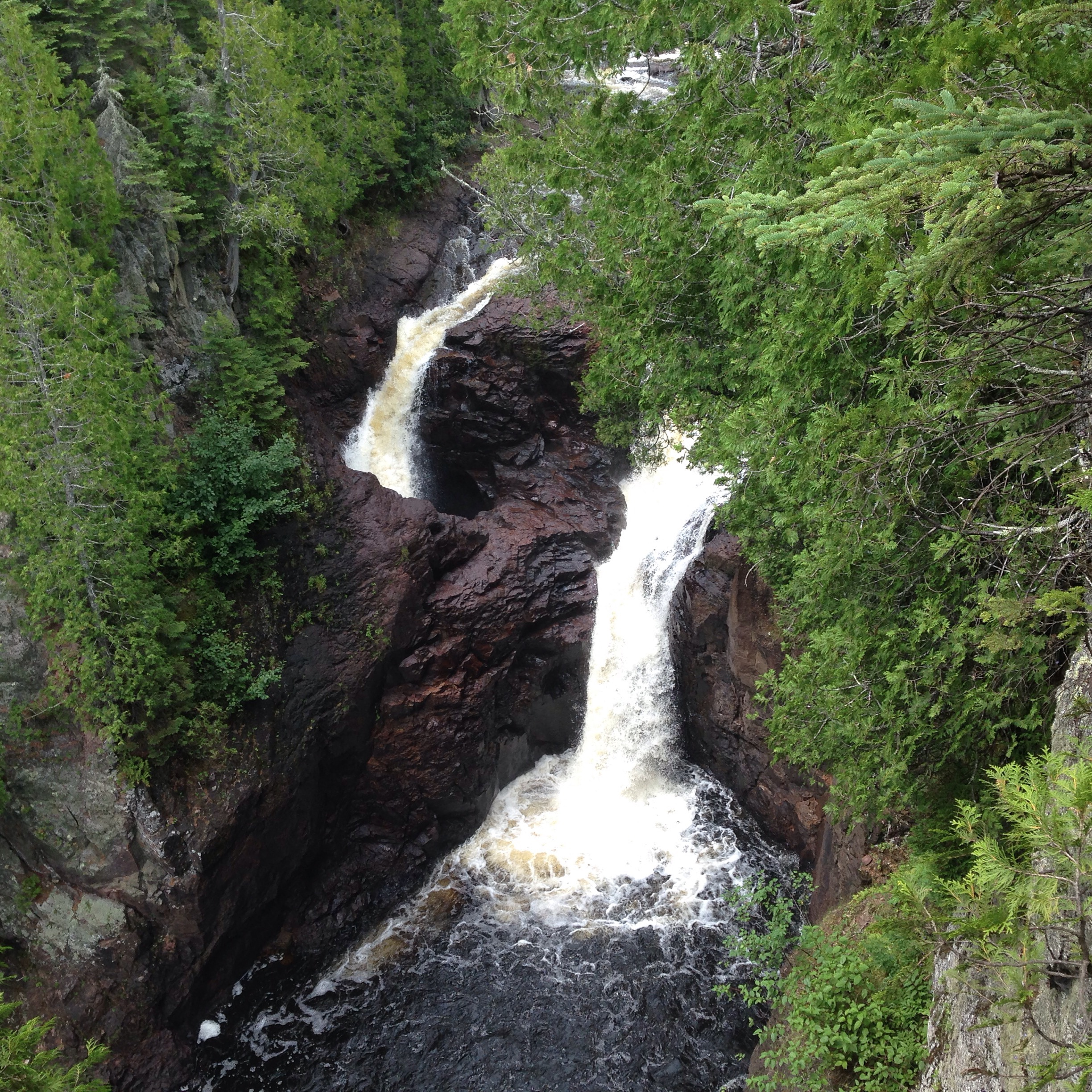 Devil's Kettle waterfall on the Brule River in Judge C.R. Magney State Park. North Shore. Minnesota.