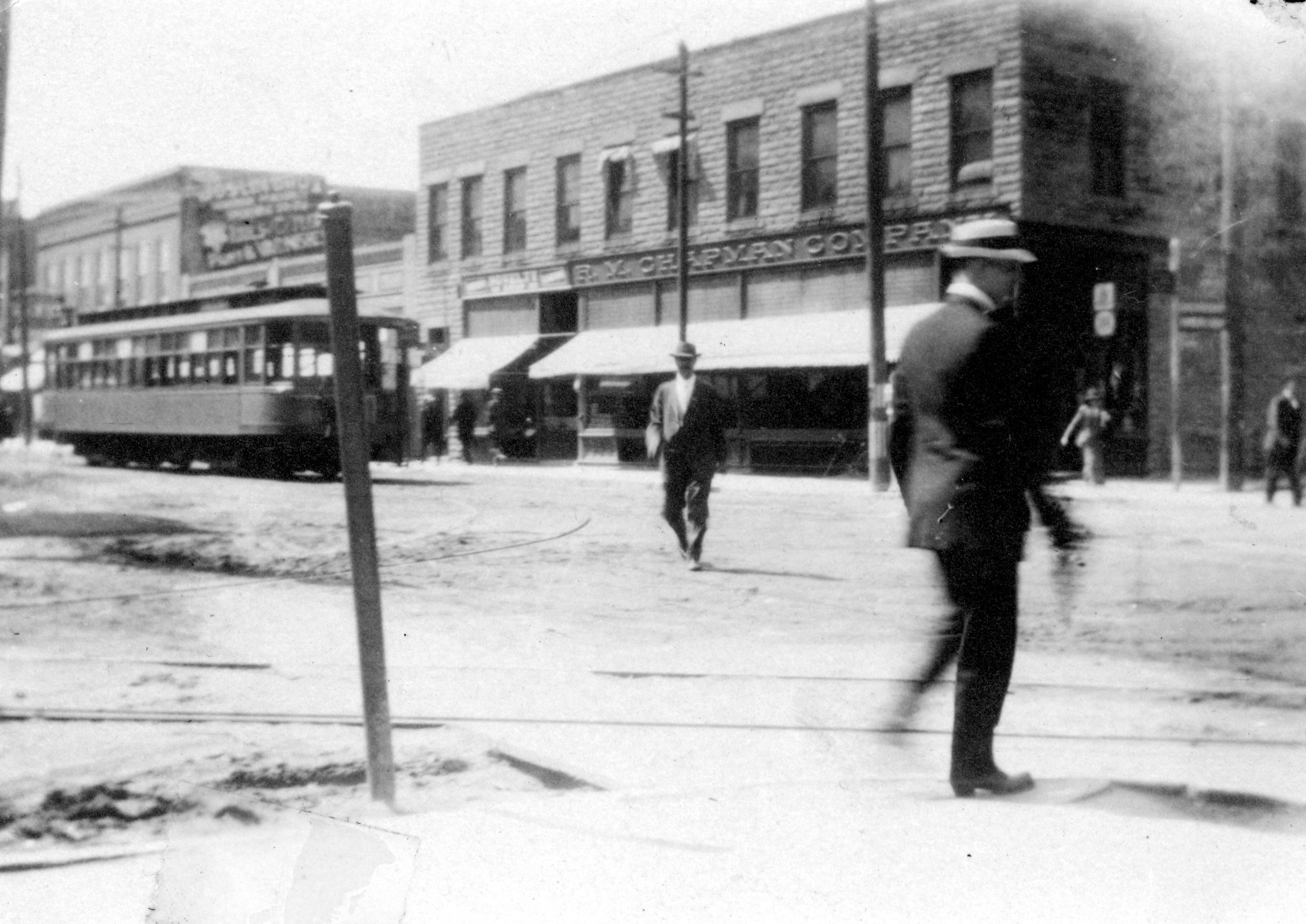 A streetcar traveling down Water Street in Excelsior in 1907.