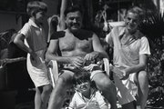 Ernest Hemingway with his three sons, Jack, Patrick, and Gregory at his Key West home.